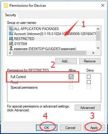 Full Control permissions for devices