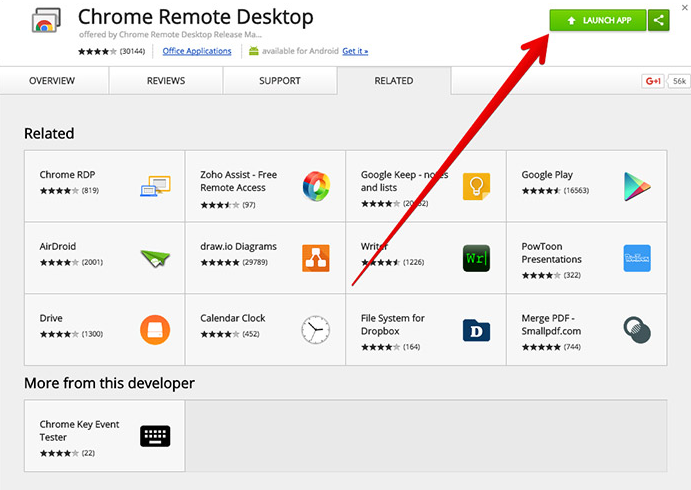 Install and Launch app Chrome Remote Desktop