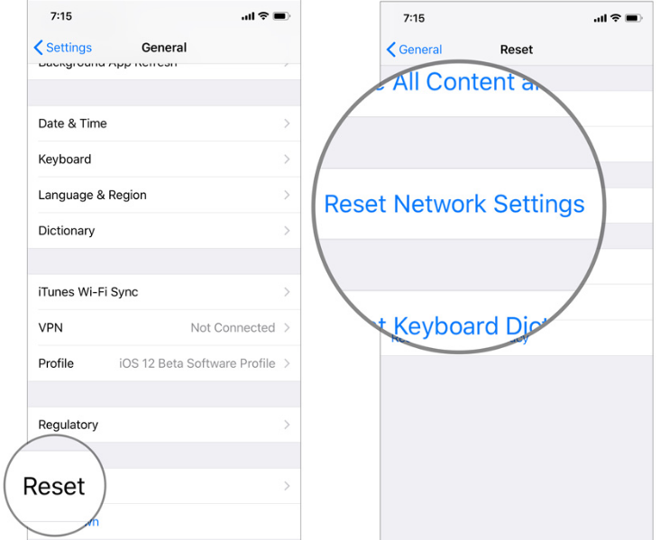 reset network setting on iPhone and iPad