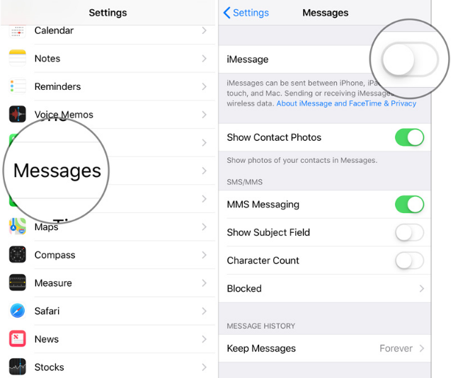 turn off imessage on iphone and ipad