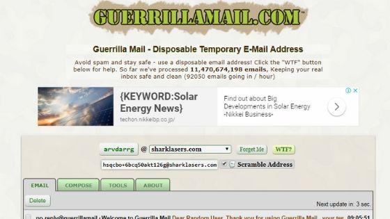 GuerrillaMail - Fake Email Generator Site
