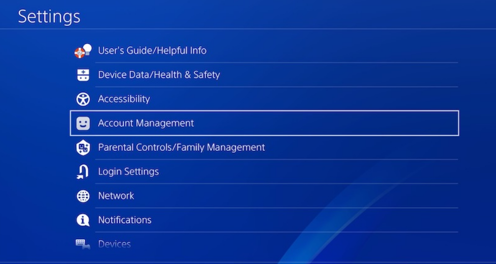 Setting up Account Management for PS4