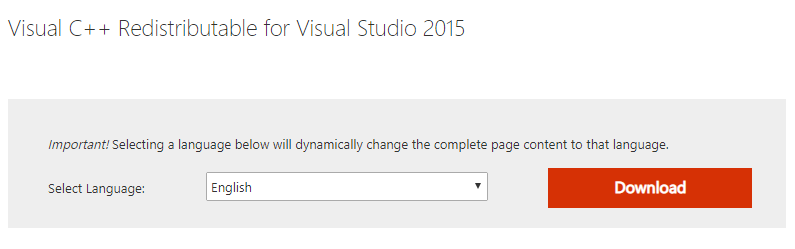 Visual C++ Redistributable for Visual Studio 2015