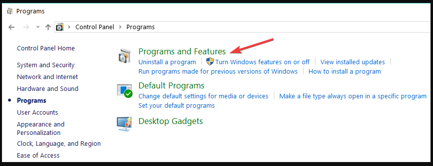 programs and features windows 10
