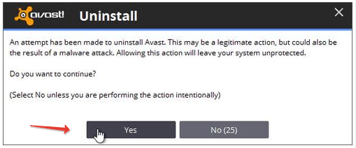 Avast Antivirus Uninstall Permission