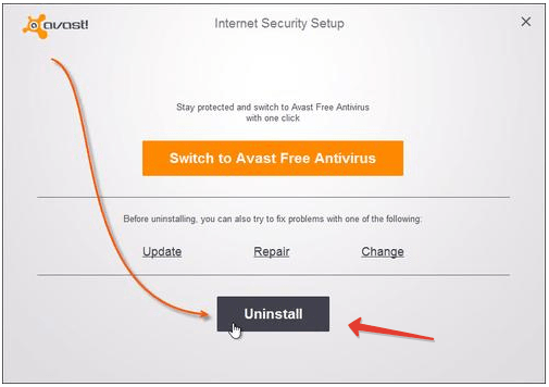 Avast Uninstall Panel