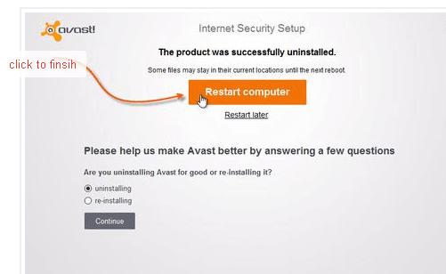 Restart PC after uninstall avast antivirus