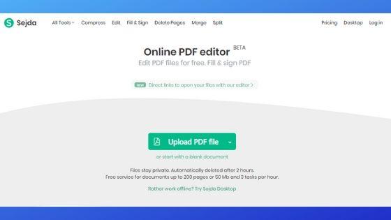 Sejda Free PDF Editor Software Online
