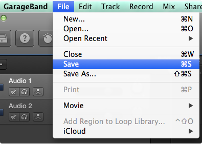 Save the File in garageband
