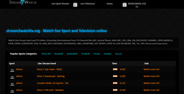 Strem2Watch - free sport streaming site