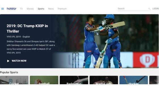 hotstar - free sport streaming site