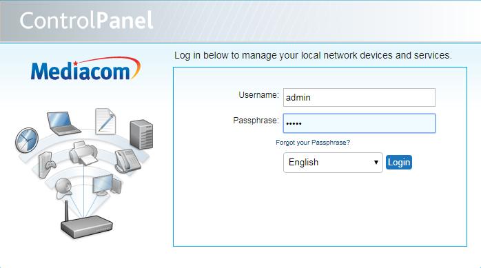 mediacom control panel login