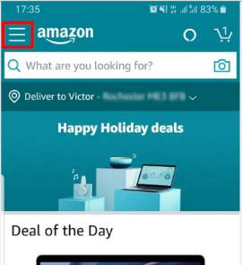 click on 3 line in amazon app