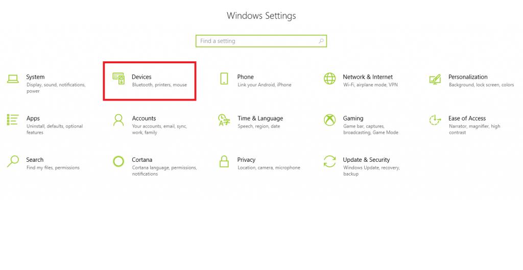 device in windows 10 setting