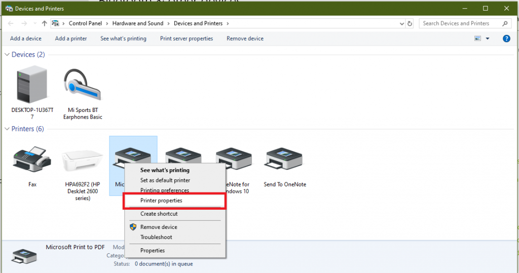 printer properties option in windows 10