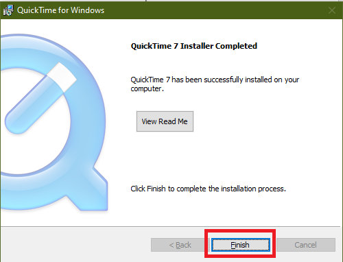 quicktime for windows installation completed