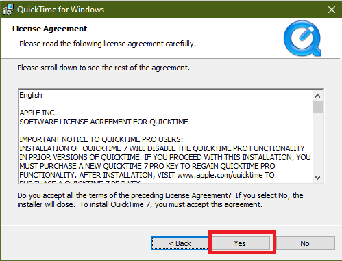 quicktime for windows license agreement