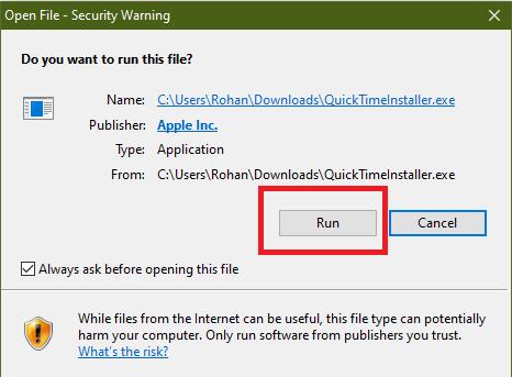 quicktime installer exe