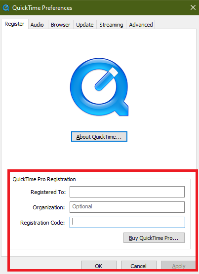 registration Key to activate quicktime 7 pro for windows