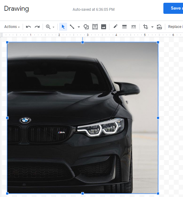paste the image on google doc drawing tool