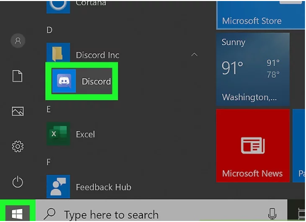 press window key and search discord