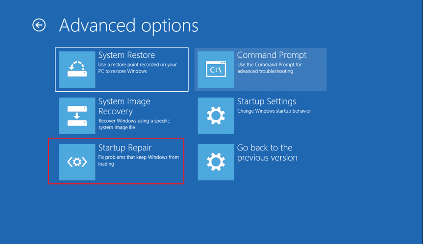 Start Repair option