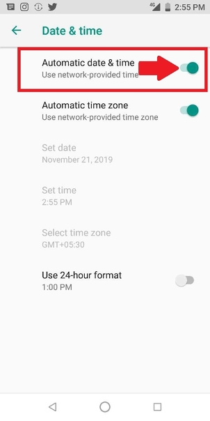 automatic date and time setting on android
