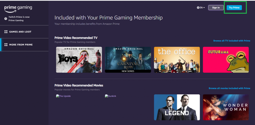 login to twitch amazon prime account