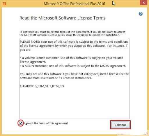 microsoft office 2016 agreement