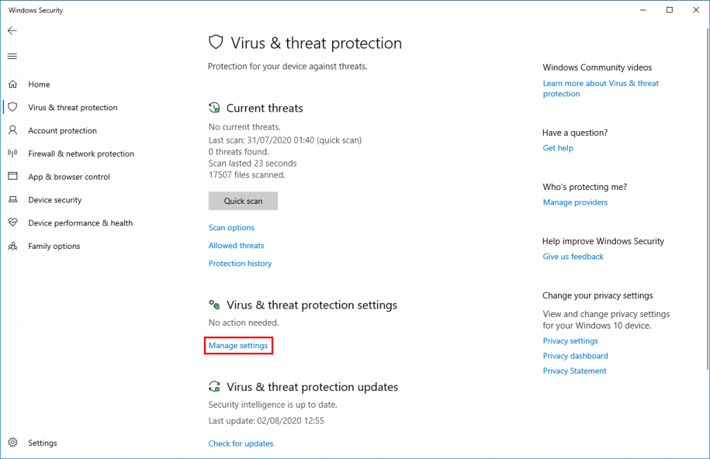 Virus & Threat Protection setting