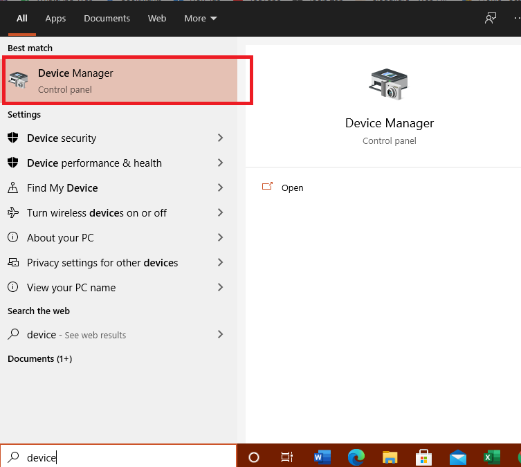 search device manager in windows 10