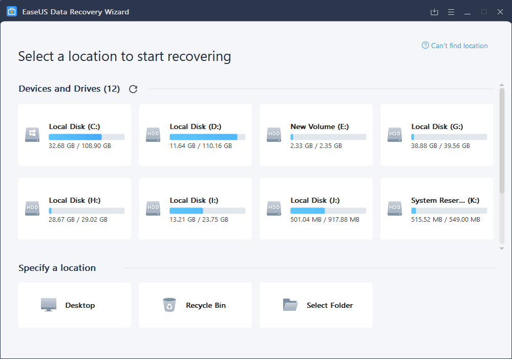 select the device or drive to recover data on easeus data recovery wizard
