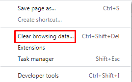 Clear browsing data from google chrome