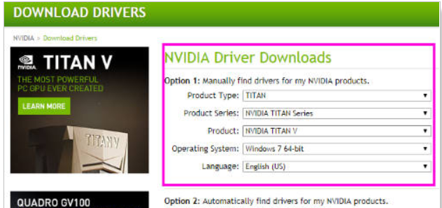 Nvidia - download driver