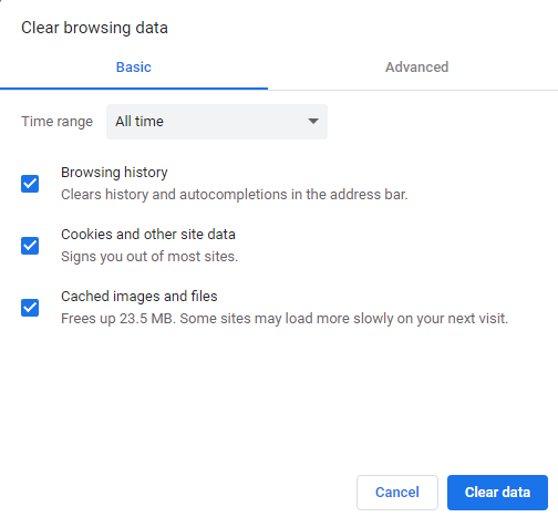 clear browsing data for all time