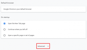 google chrome browser advanced setting