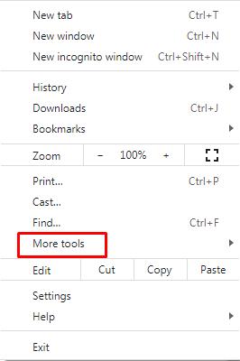 google chrome more tool