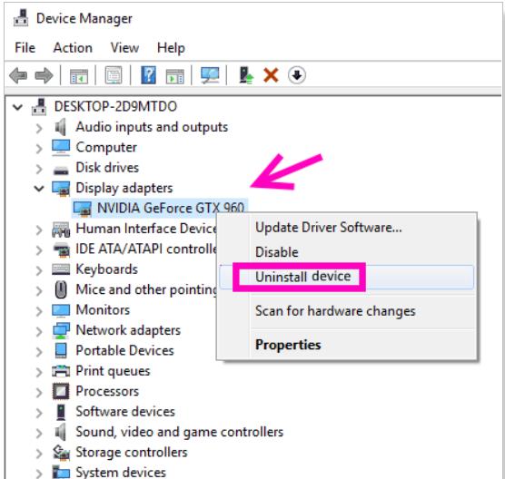 nvidia geforce gtx uninstall device option