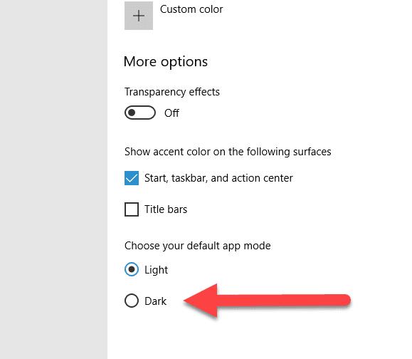 select dark mode option