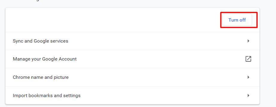 turn of data sync in google chrome