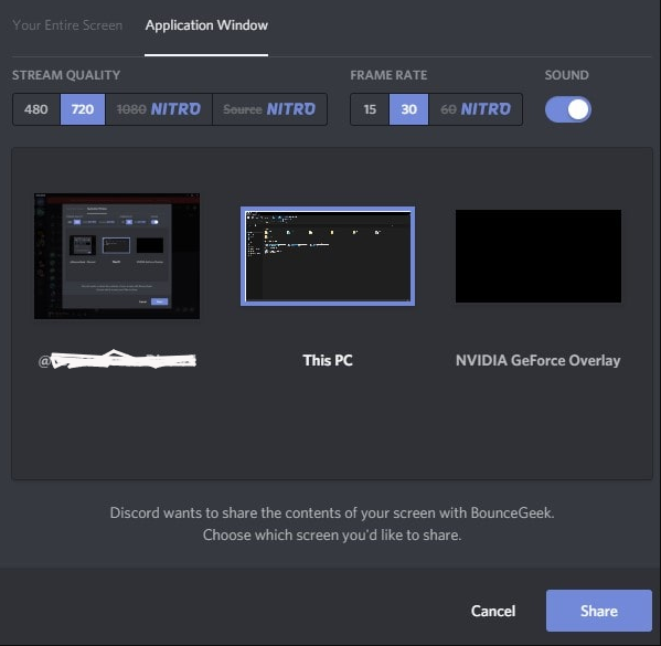 two screen sharing option on discord
