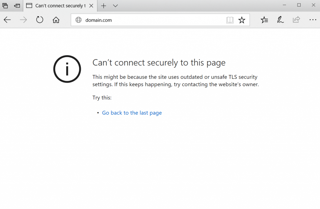 Can't connect securely to this page error on microsoft edge