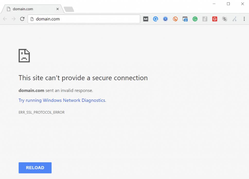 ERR SSL PROTOCOL ERROR on google chrome
