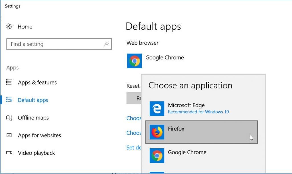 default apps