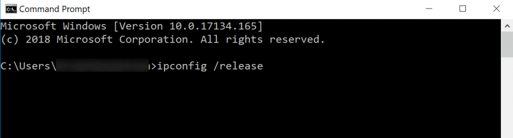 ip release command prompt