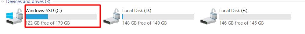 c drive to find windows folder