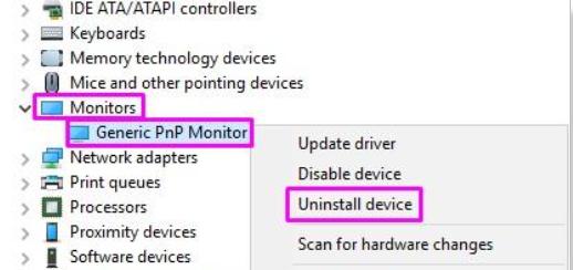 uninstall generic pnp monitor