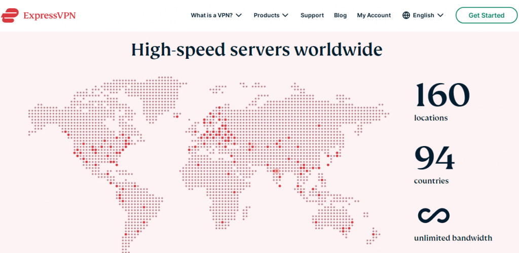 Huge selection of servers in different countries