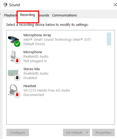 recording tab