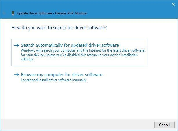 search automatically updated driver software